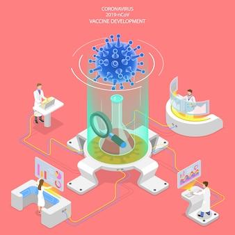 3d isometrische concept van coronavirus vaccinonderzoek.
