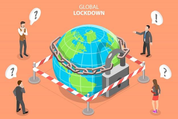 3d isometrische concept van global lockdown.