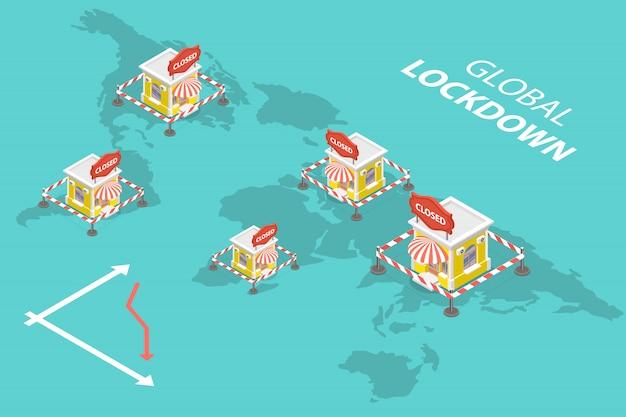 3d isometrische concept van wereldwijde markten lockdown.