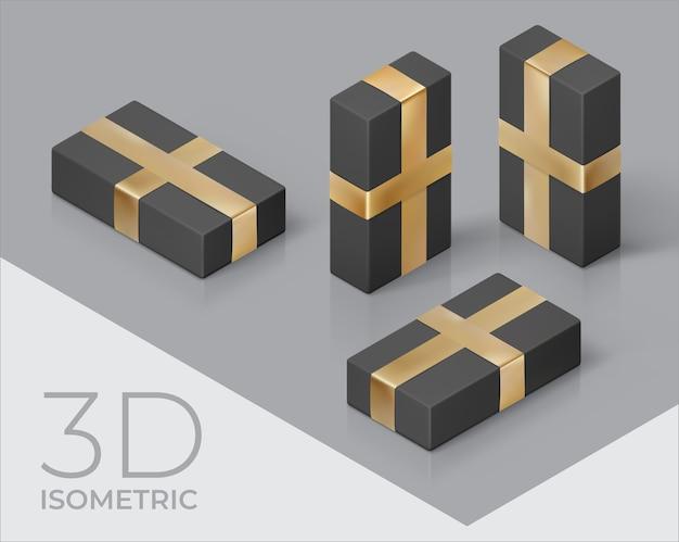 3d isometrische illustratie met zwarte geschenkdoos en gouden lint Premium Vector