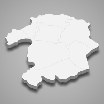 3d isometrische kaart van bingol is een provincie van turkije