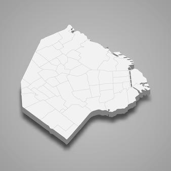 3d isometrische kaart van ciudad de buenos aires is een provincie van arge