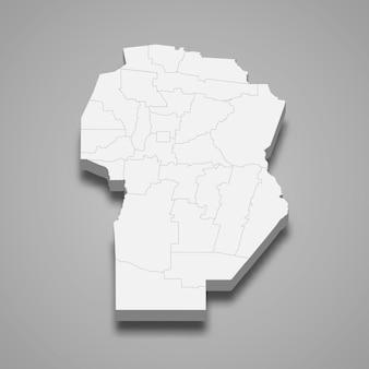 3d isometrische kaart van cordoba is een provincie van argentinië