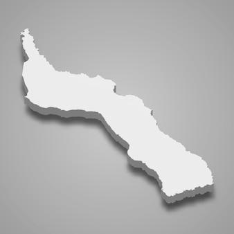 3d isometrische kaart van de berg athos is een regio van griekenland