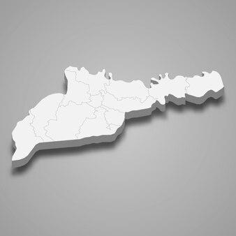 3d isometrische kaart van de oblast tsjernivtsi is een regio van oekraïne