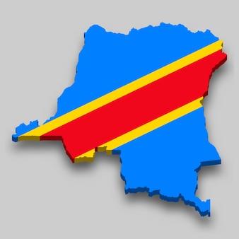 3d isometrische kaart van dr congo met nationale vlag.
