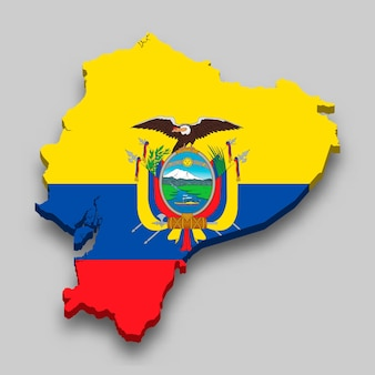 3d isometrische kaart van ecuador met nationale vlag.