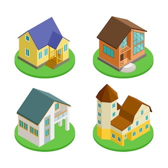 3d isometrische levende huizen pictogram vector van set