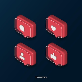 3d isometrische liefde zoals commentaar tag instagram icoon