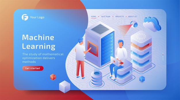 3d isometrische machine learning concept van kunstmatige intelligentie. cybernetische ai-machine.