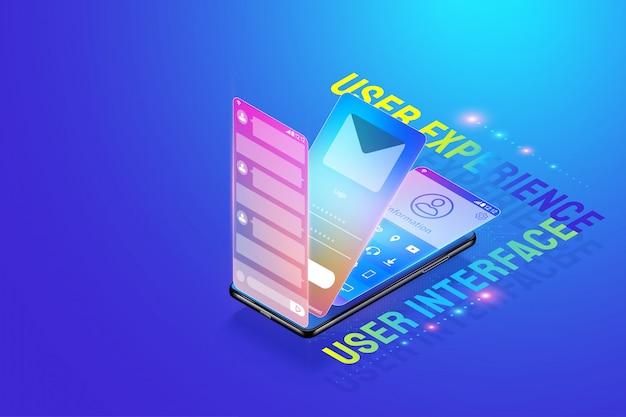 3d isometrische mobiele app ui ux ontwerp illustratie, creëren en ontwerpen van gebruikersinterface, gebruikerservaring en applicatieontwikkeling concept vector.