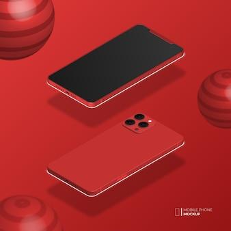 3d isometrische mobiele telefoon mockup