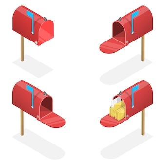 3d isometrische platte set van mailboxen met een gesloten en open deur, met en zonder letters.