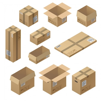3d isometrische reeks van karton verpakking, post voor levering die op witte achtergrond wordt geïsoleerd