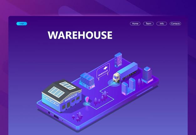 3d isometrische site - magazijn met tracking