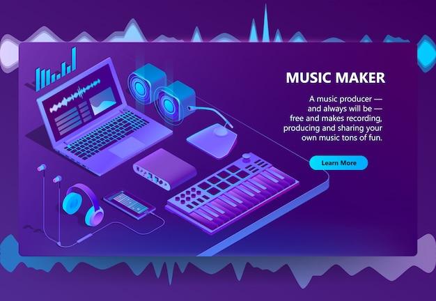 3d isometrische site voor het maken van muziek