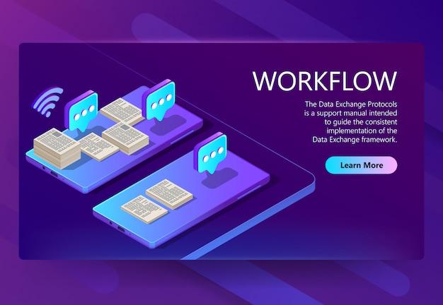3d isometrische sitesjabloon met workflow