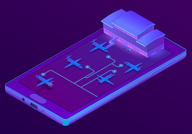 3d isometrische smartphone - boeking van tickets
