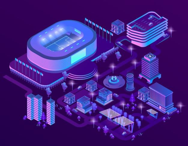 3d isometrische ultraviolette megapolis met stadion