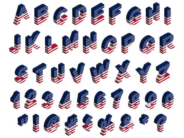 3d isometrische usa vlag lettertype, letters, cijfers, symbolen en tekens, stock illustratie illustraties