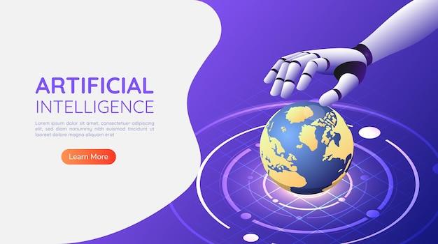 3d isometrische webbanner ai robothandbesturing de wereld