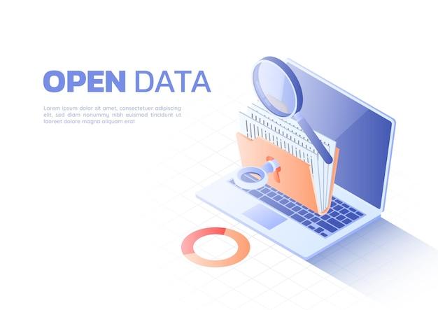 3d isometrische webbanner ontgrendelde map met bestand en vergrootglas op laptopmonitor. open gegevens en gegevensanalyseconcept.