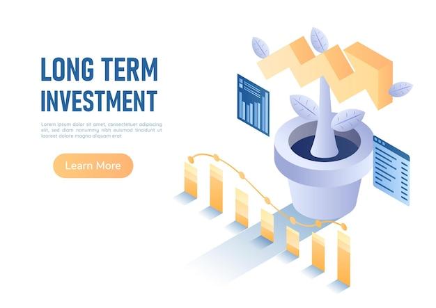 3d isometrische webbanner plant opgroeien als groei pijl grafiek. investeringsconcept op lange termijn.