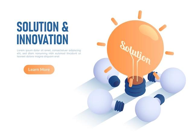3d isometrische webbanner verlichte gloeilamp onder het leggen van gebroken lamp. innovatie en oplossingsconcept.