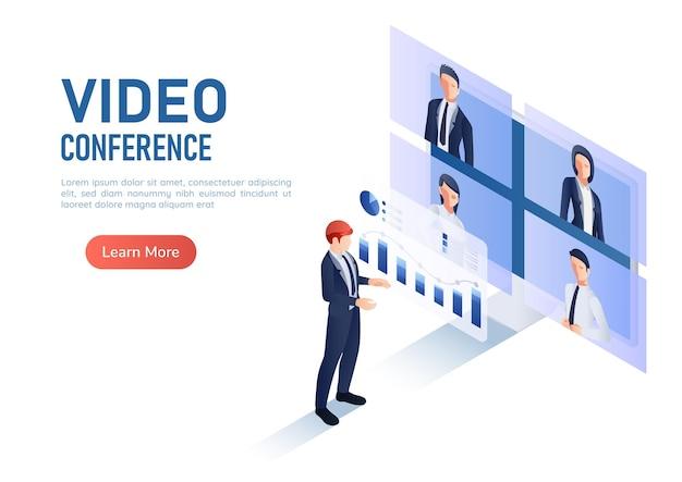 3d isometrische webbanner zakenman bespreken financiële analyse grafiek terwijl videoconferentie ontmoeting met collega's. work form home video conference en new normal online meeting concept.