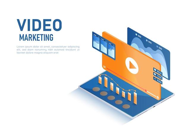 3d-isometrische webbannervideo met afspeelknop en gegevensanalyse op tablet. videomarketingconcept