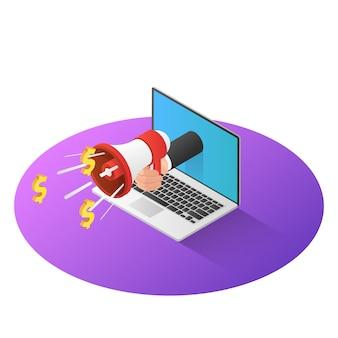 3d isometrische zakenmanhand met megafoon komt uit laptop monitor