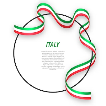 3d-italië met nationale vlag.