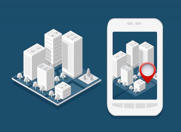 3d kaart isometrische stad