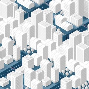 3d-kaart van de stad op wit