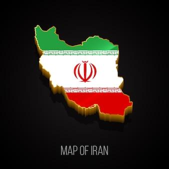3d-kaart van iran Premium Vector