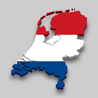 3d-kaart van nederland met nationale vlag.
