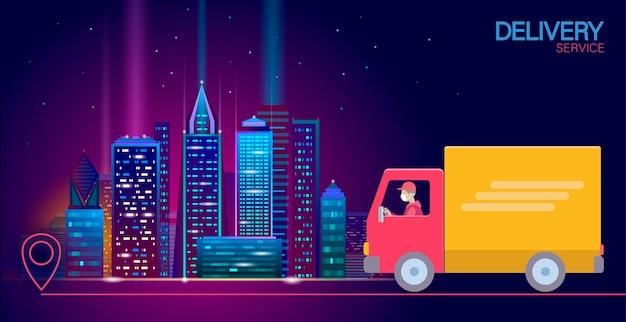 3d-kaartpuntlocatie levering wereldwijde vrachtwagenauto