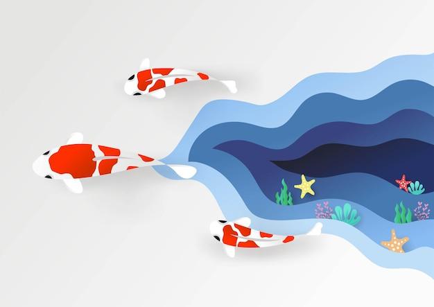 3d karper vissen zwemmen kleurrijke handgemaakte kunst papier gesneden stijl vectorillustratie eps10