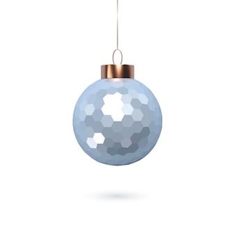 3d kerst glanzende blauwe bal