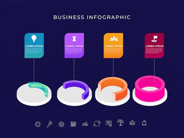 3d kleurrijke halft cirkel bedrijfsinfographic om element te omcirkelen