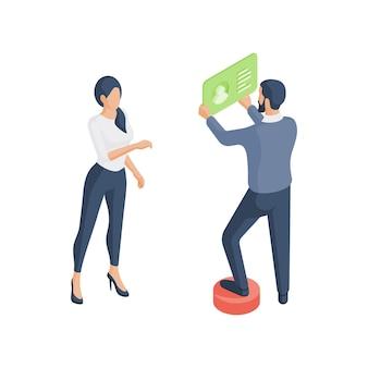3d kleurrijke isometrische illustratie van vrouwelijke stripfiguur staande in de buurt van mannelijke collega