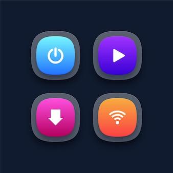 3d-kleurrijke knoppen power play download en wifi-knoppen