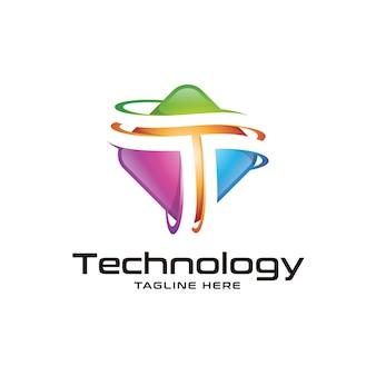 3d-kleurrijke letter t-logo