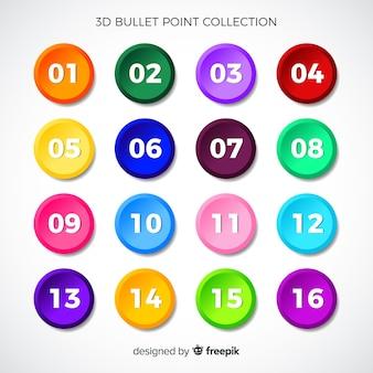 3d kleurrijke opsommingstekeninzameling