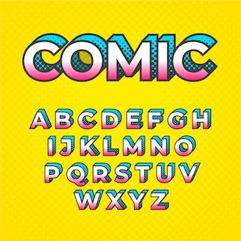3d-komische alfabet concept