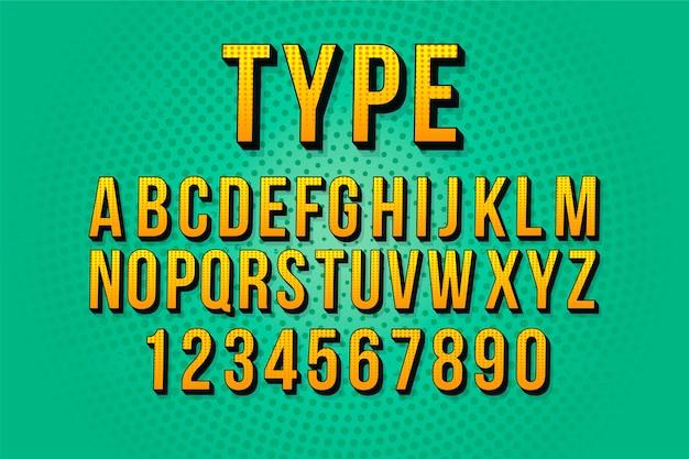 3d-komische alfabet ontwerp