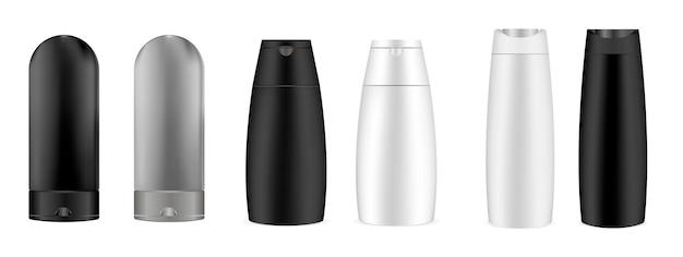 3d kosmetische geplaatste flessen. verpakkingsgel, shampoo