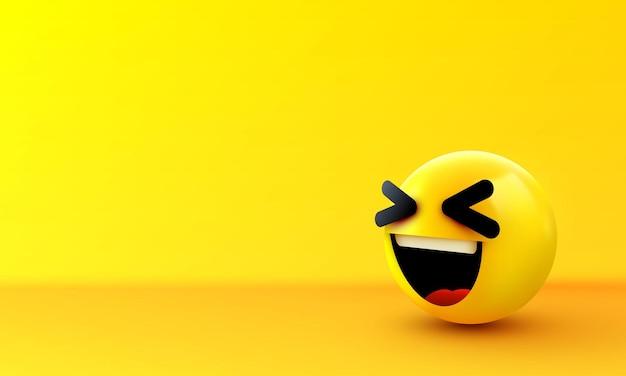 3d lachend balteken emoticon icon design for social network