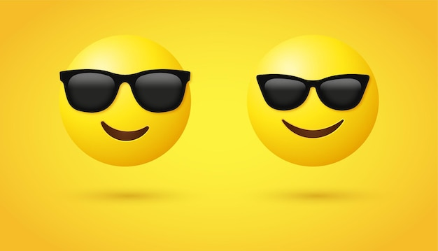 3d lachend emoji-gezicht met zonnebril voor emoticons op sociale media