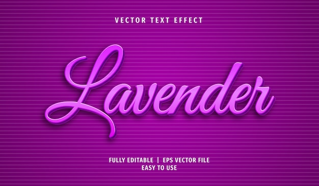 3d lavendel teksteffect, bewerkbare tekststijl
